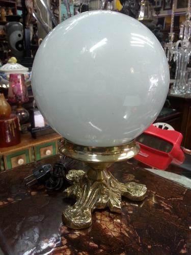 lampara mesa antigua base bronce y cristal opalizado 1 luz