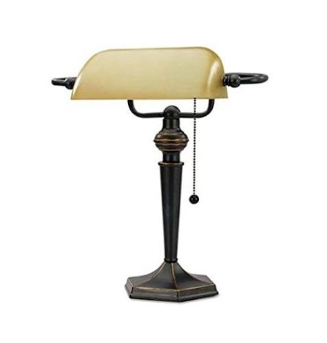 lampara mesa banquero o piano nueva en bronce  y cristal