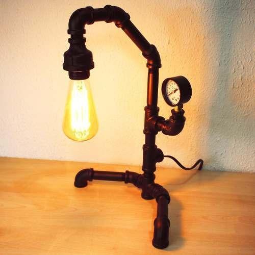 lámpara mesa escritorio vintage industrial retro tubo acero
