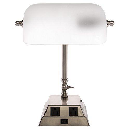 lampara mesa nueva  banquero o piano en metal  y cristal