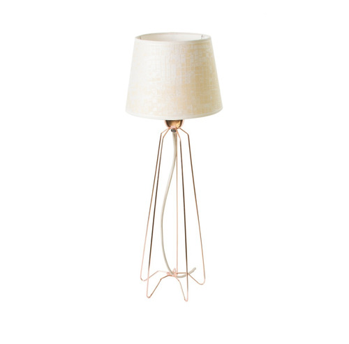 lampara mesa velador alambre pantalla tela cobre artelamp