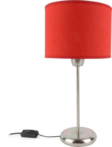 lampara mesa velador cilindrico pantalla tela rojo artelamp
