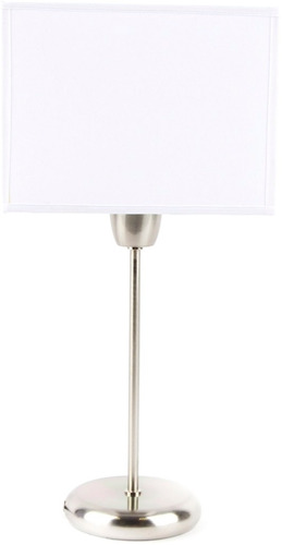 lampara mesa velador cuadrado pantalla blanca tela artelamp