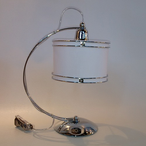 lampara mesa velador luna pantalla cilindrica cromo