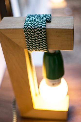 lampara mesa velador madera blanco artelamp