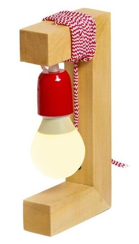 lampara mesa velador madera rojo artelamp