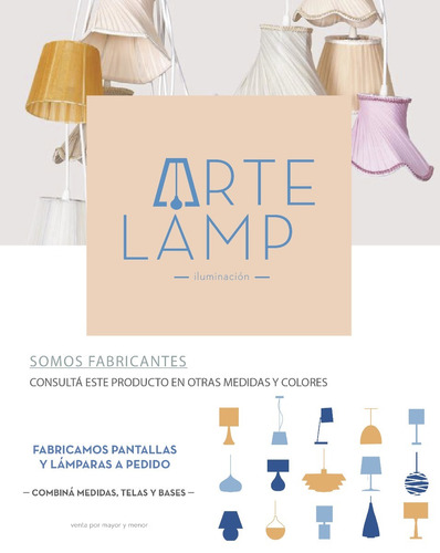 lampara mesa velador pantalla conica tela blanco artelamp