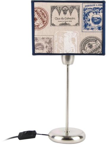 lampara mesa velador pantalla cuadrada tela diseño artelamp
