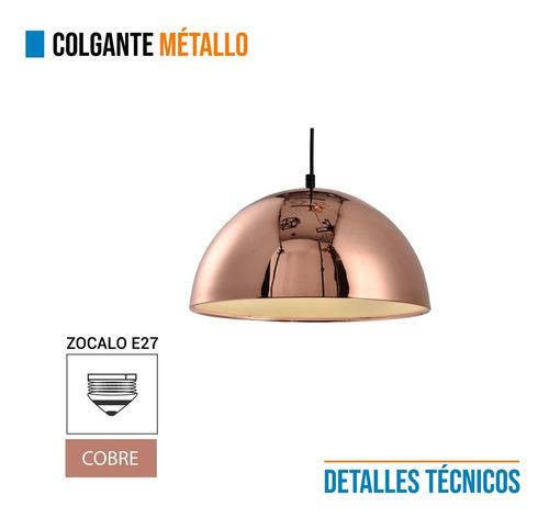 lámpara  metallo colgante media esfera cobre metalizado deco