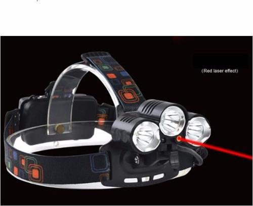 lámpara minera 5000 lúmenes 3 cree led t6 + laser rojo 100mw