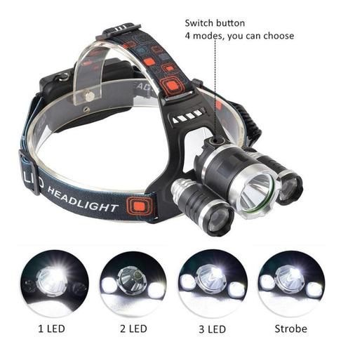 lampara minera cacería recargable 9000 lumens contra agua 4 modos de luz 2 baterias 18650 mah cargador carro, casa y usb