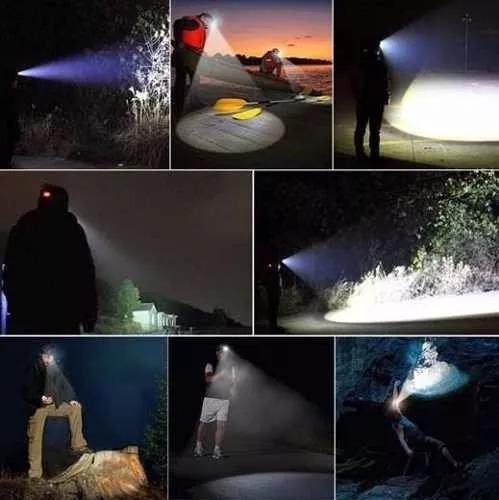 lampara minera minero led t6 recargable cabeza 2000 lumens