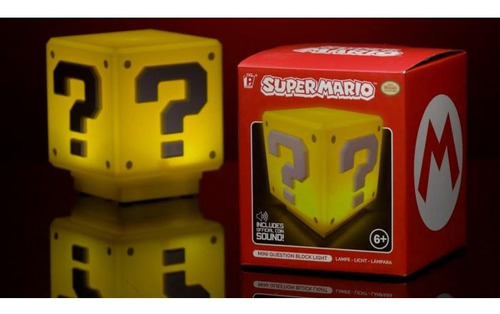 lámpara mini question block mario bros