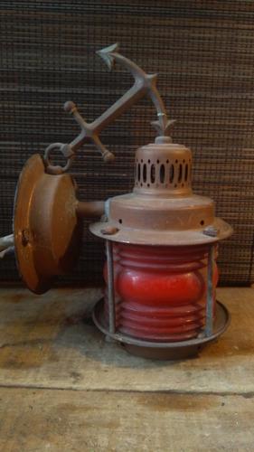 lámpara náutica antigua de cobre americana de barco