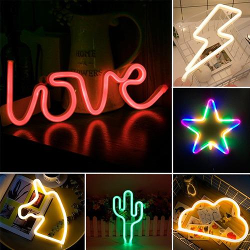 lampara neon led decoracion rayo cactus love unicornio nube