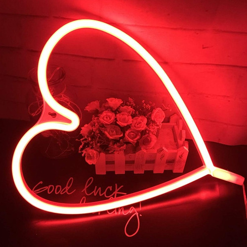 lampara neon luz led luminoso corazon usb o pilas
