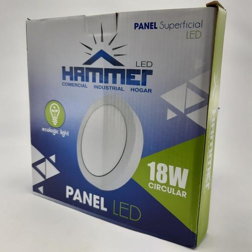lampara o spot led 18w panel superficial hammer redondo