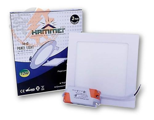 lampara panel led 12w hammer empotrable cuadrado luz blanca