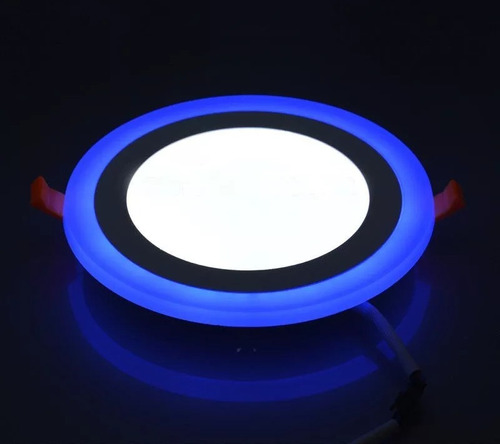 lampara panel led 3w+3w ojo de buey doble color empotrar