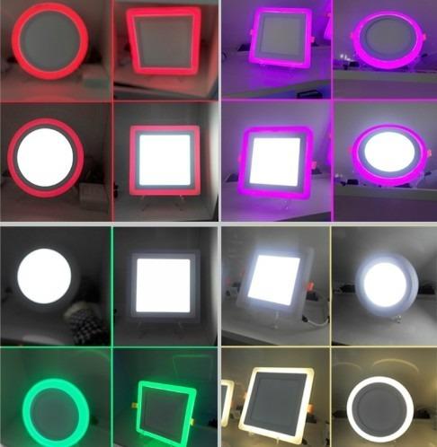 lampara panel led 3w 6w + 3w cuadrado doble color empotrar