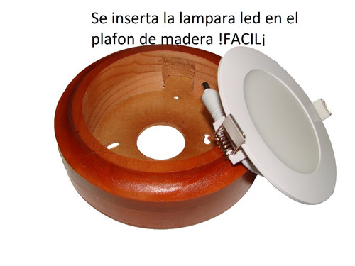 lampara panel led 6 watt 20 pzas + plafones madera 20 pzas