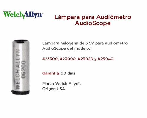 lámpara para audiometro audioscope welch allyn