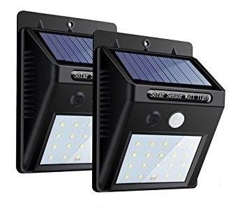 lampara para pared con panel solar y sensor 20 led