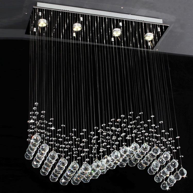 Lampara de cristal en forma de onda de luz led para techo - Luz de techo ...