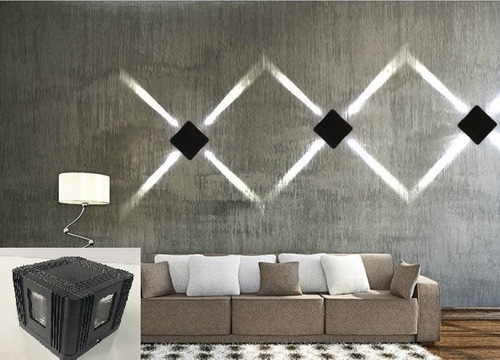 lampara pared led decorativa 4 cuatro cuadrada exteriores