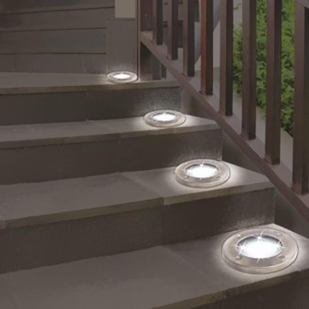 Lámpara Led Pcs De Luces Disco Suelo Motorizado Césped Solar knP0XN8wO