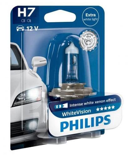lampara philips 12v 55w h7 white vision 60% + luz