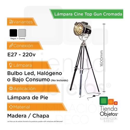 lampara pie diseño cine top gun cromada negra industrial