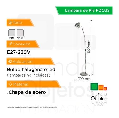 lampara pie diseño living focus cromada flexible e27 cuotas