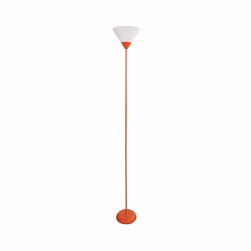lampara piso naranja 1.75mt pantalla color blanco socket e27