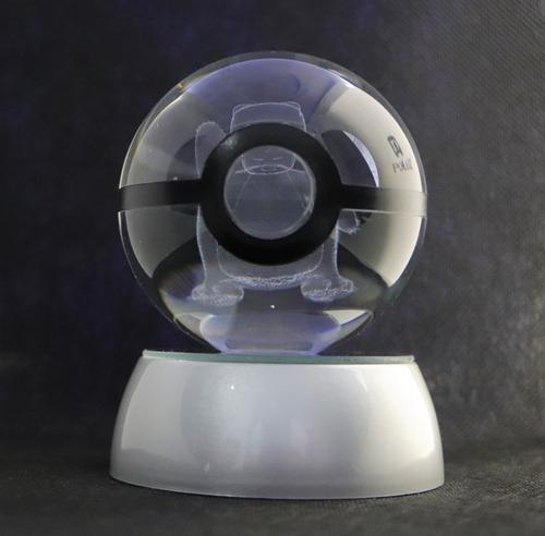 lámpara pokemon 3 d - pokebola 8cm - cristal k9 - decoración