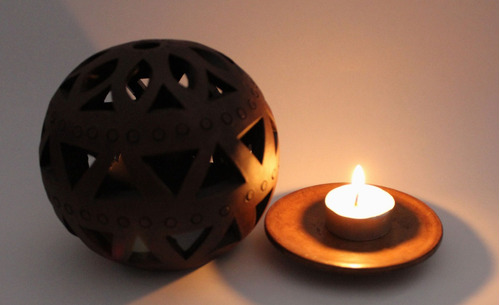 lámpara porta velas barro negro 100% oaxaca