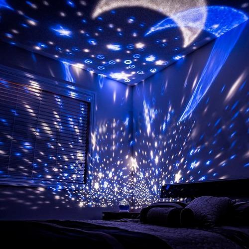 lampara proyector estrellas giratoria escritorio cuarto niño