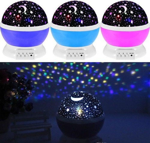 lampara proyector estrellas lunas giratorio 3 modos iluminar