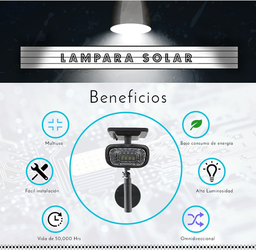 lampara reflector iluminacion exterior solar 4 super leds