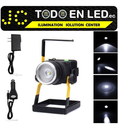 lampara reflector linterna luz led portatil recargable