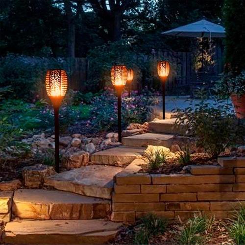 lámpara solar antorcha estaca jardín con sensor día y noche