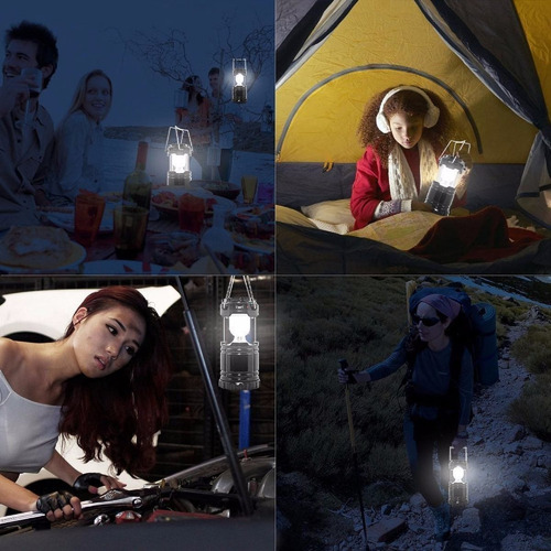 lampara solar camping + linterna+ power bank metalico 180 lm