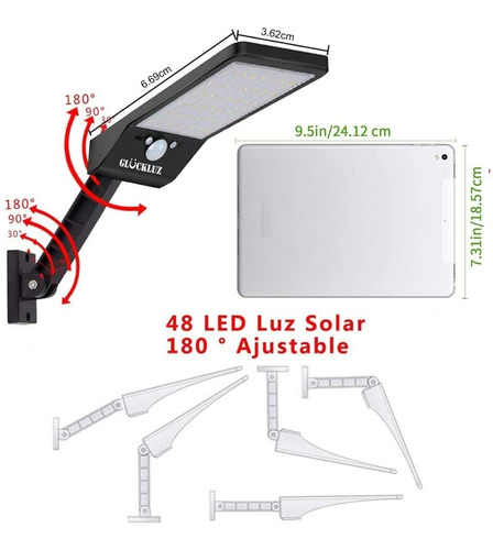 lámpara solar de pared glückluz flexible 48led negro 2pack