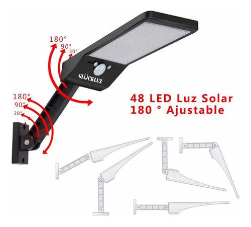 lámpara solar de pared glückluz flexible 48led negro 2pack