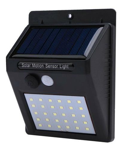 lampara solar foco potente 30 led sensor celula luz farol