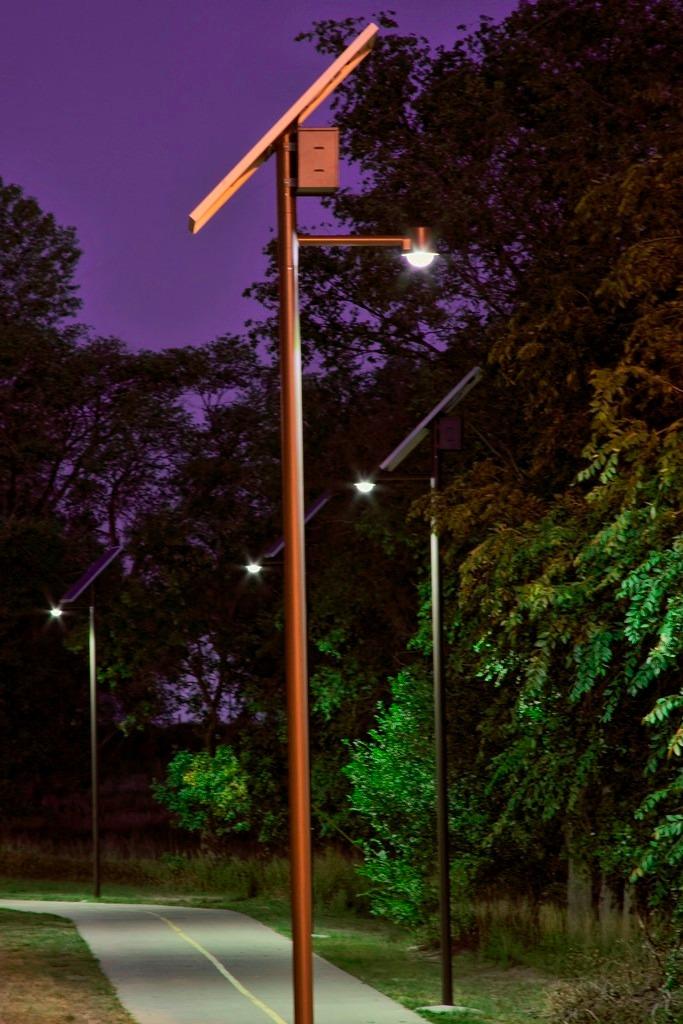 Lampara solar led alumbrado p blico 40 watts c poste for Alumbrado solar jardin