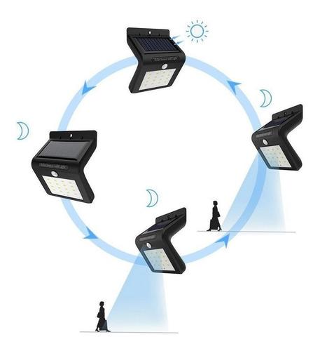lámpara solar led con sensor movimiento p/ exterior blanco