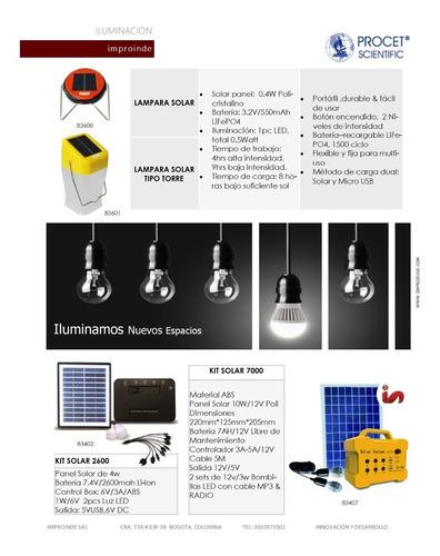 lampara solar torre camping portatil, liviana, comoda fincas
