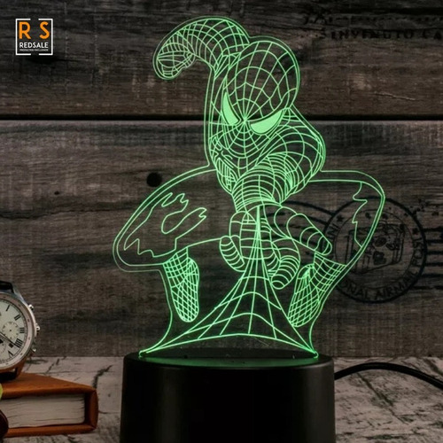 lampara spiderman avengers 3d 7 colores - red sale
