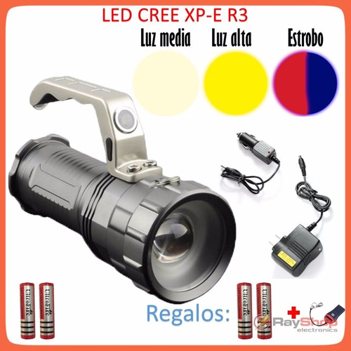 lampara tactica 8000 lumens cree led xp-e r3 recargable!!!!